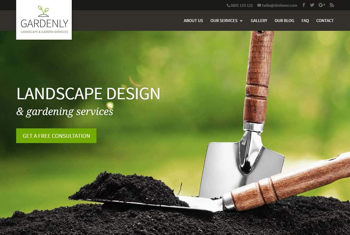Gardenly Divi Theme Example