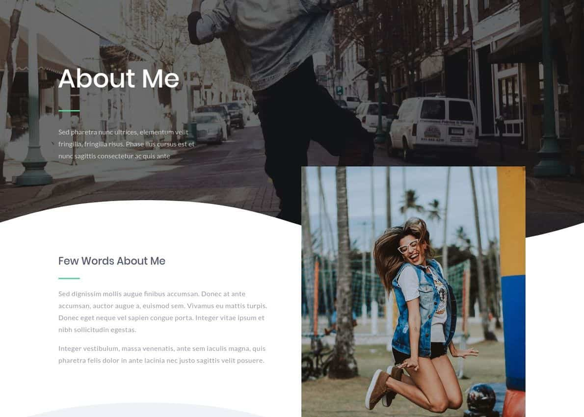 About Me Page Layout Divi Theme Example