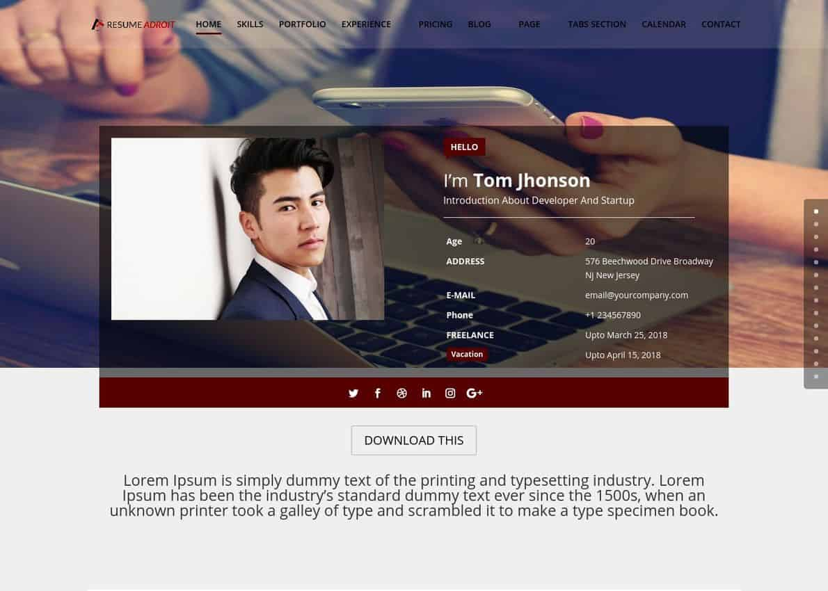 Adroit Resume Child Theme Divi Theme Example