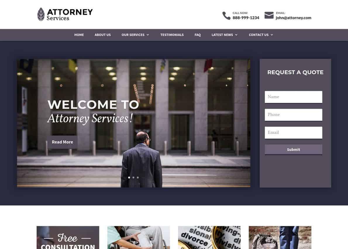 Attorney Theme Divi Theme Example