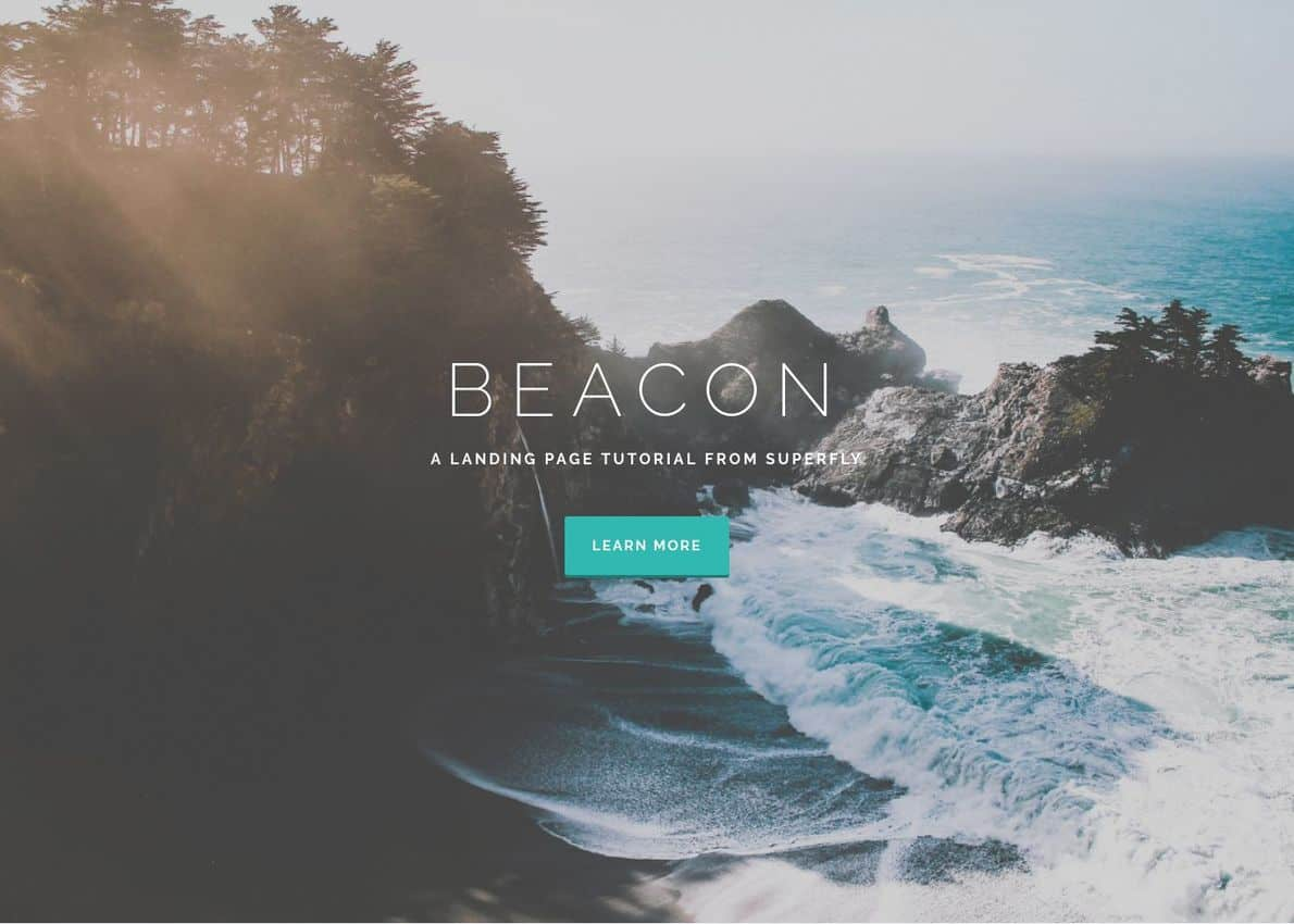 Beacon Landing Page & Tutorial Divi Theme Example