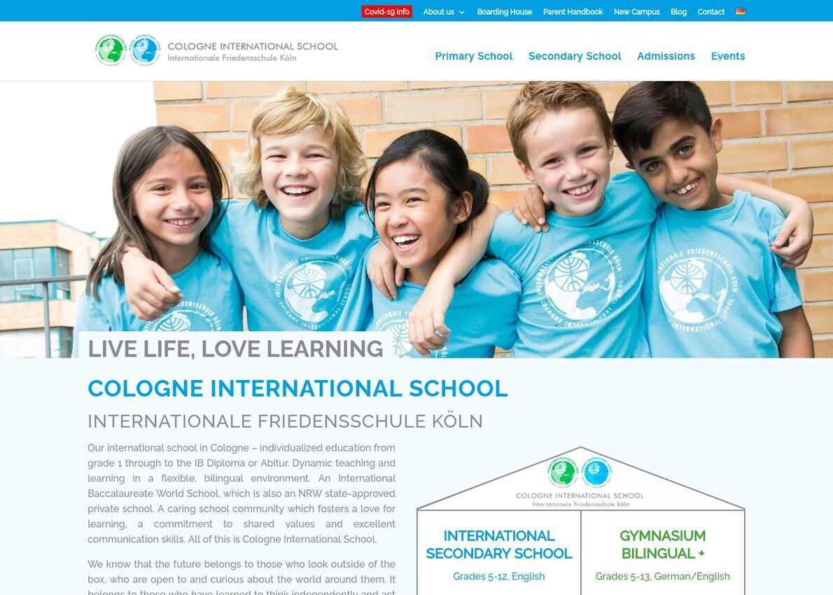 COLOGNE INTERNATIONAL SCHOOL Divi Theme Example