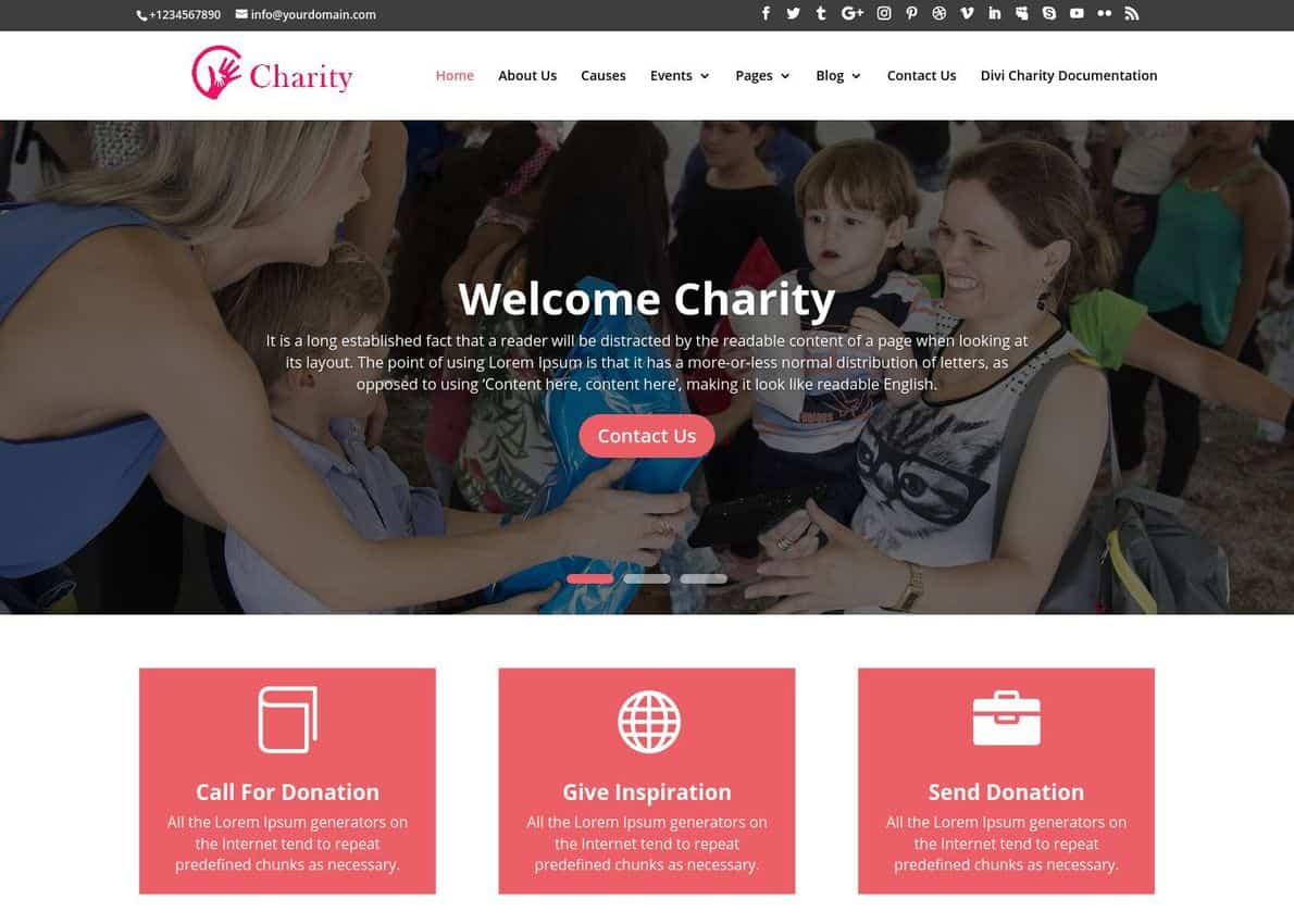 Charity Theme Divi Theme Example