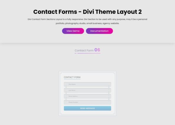 Contact Forms on Divi Gallery