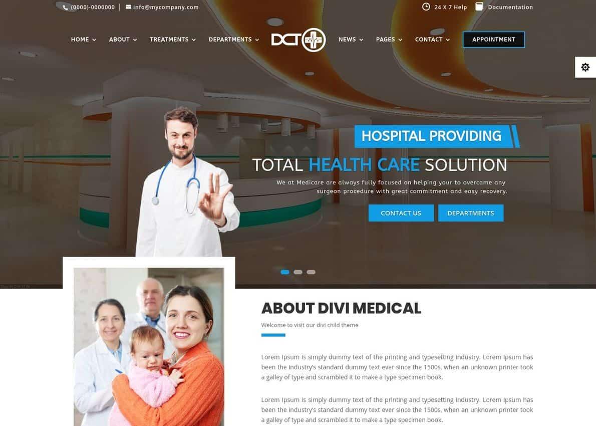 DIVI Medical & Helathcare Child Theme Divi Theme Example