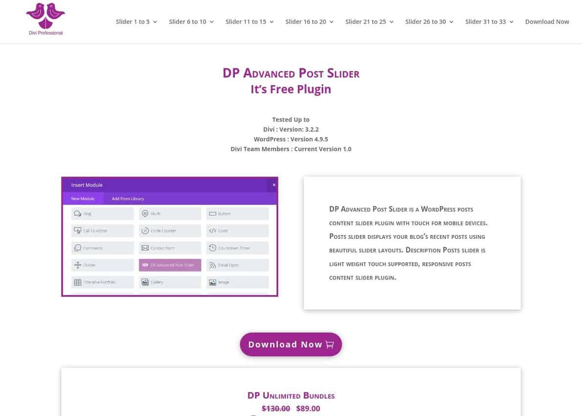 DP Advanced Post Slider Divi Theme Example