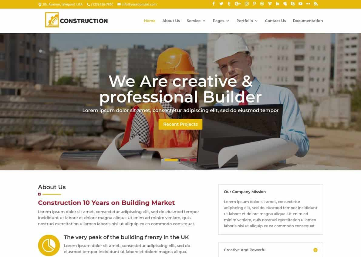DP Construction Theme Divi Theme Example