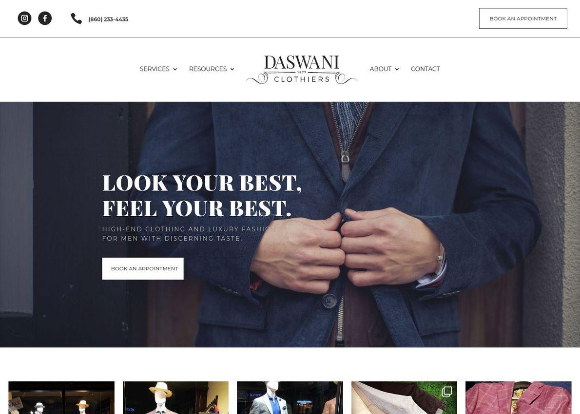Daswani Clothiers Divi Theme Example