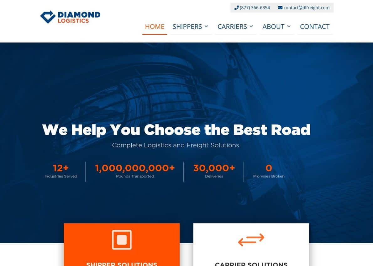 Diamond Logistics Divi Theme Example