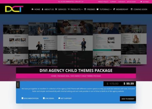 Divi Agency Child Themes Package on Divi Gallery