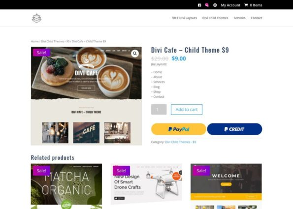 Divi Cafe – Child Theme $9 on Divi Gallery