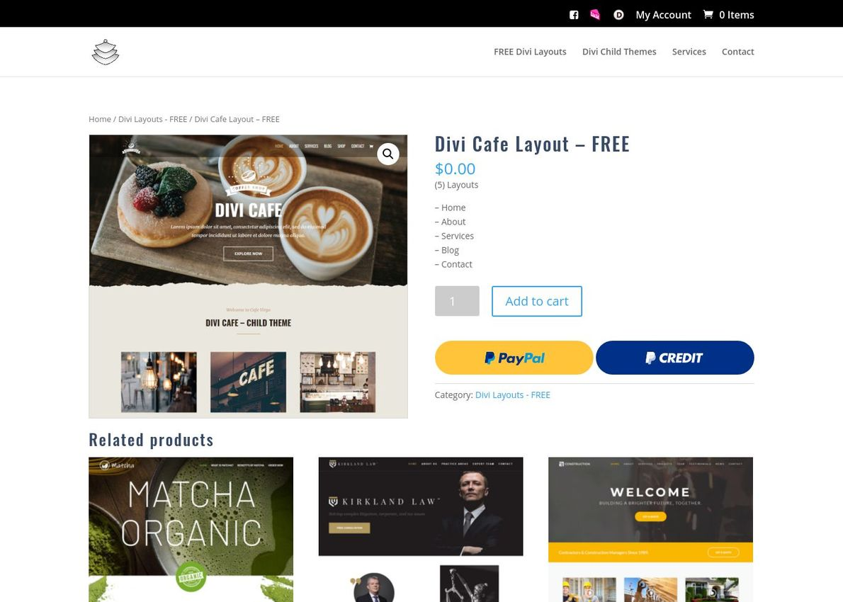 Divi Cafe Layout – FREE Divi Theme Example