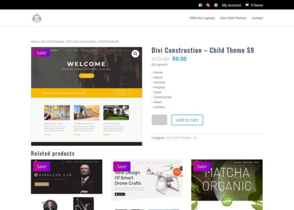 Divi Construction – Child Theme on Divi Gallery