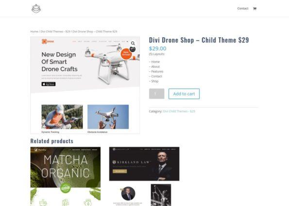 Divi Drone Shop – Child Theme on Divi Gallery