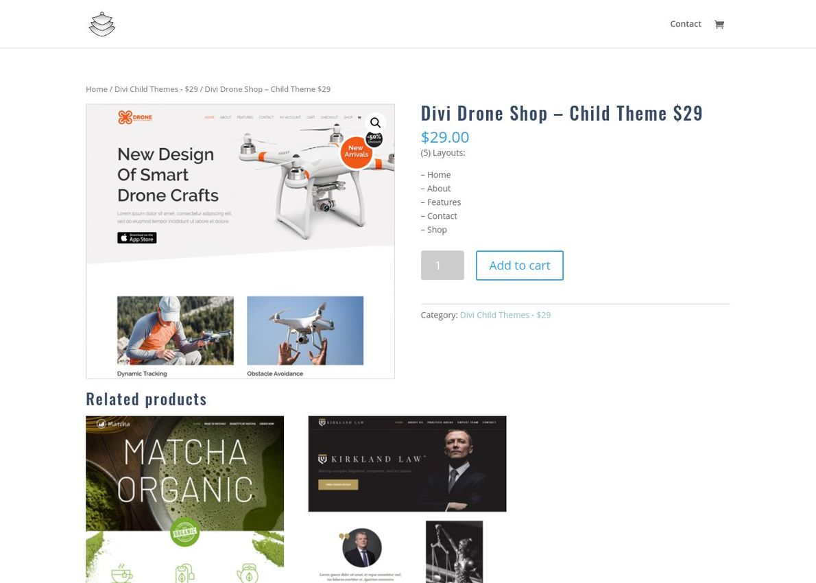 Divi Drone Shop – Child Theme Divi Theme Example