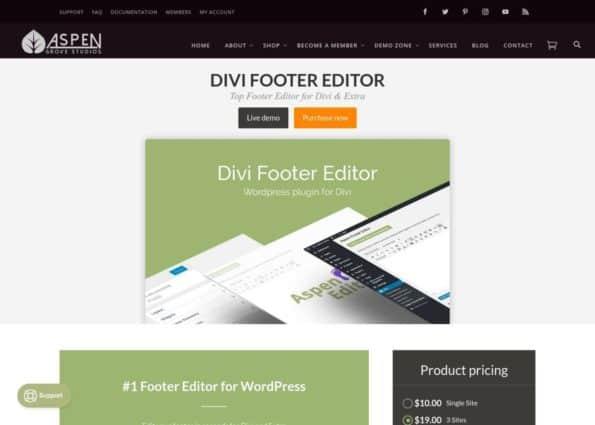 Divi Footer Editor on Divi Gallery