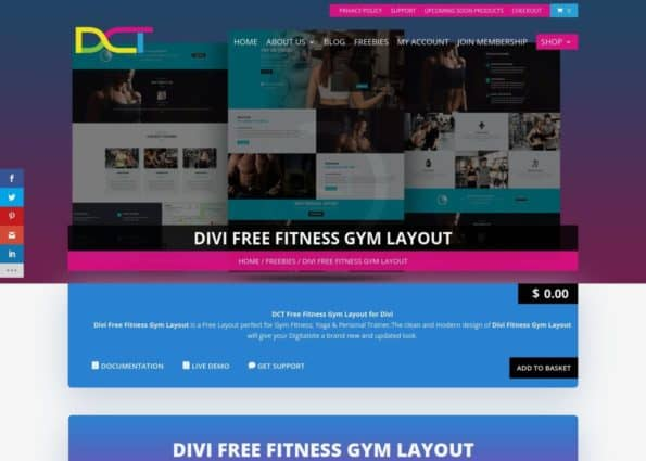 Divi Free Fitness Gym Layout on Divi Gallery