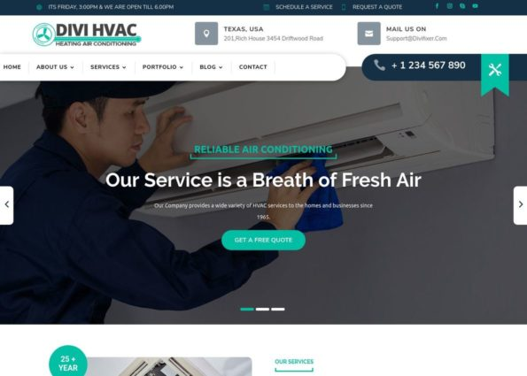 Divi Hvac Theme on Divi Gallery