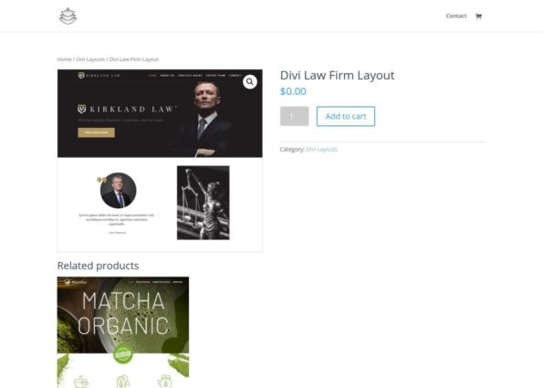 Divi Law Firm Layout on Divi Gallery