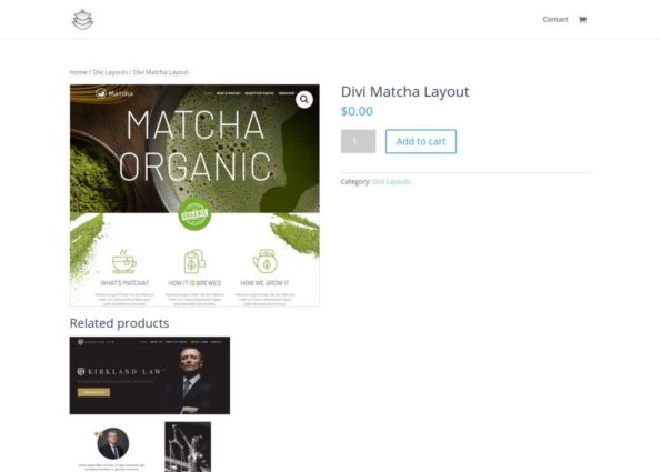 Divi Matcha Layout on Divi Gallery