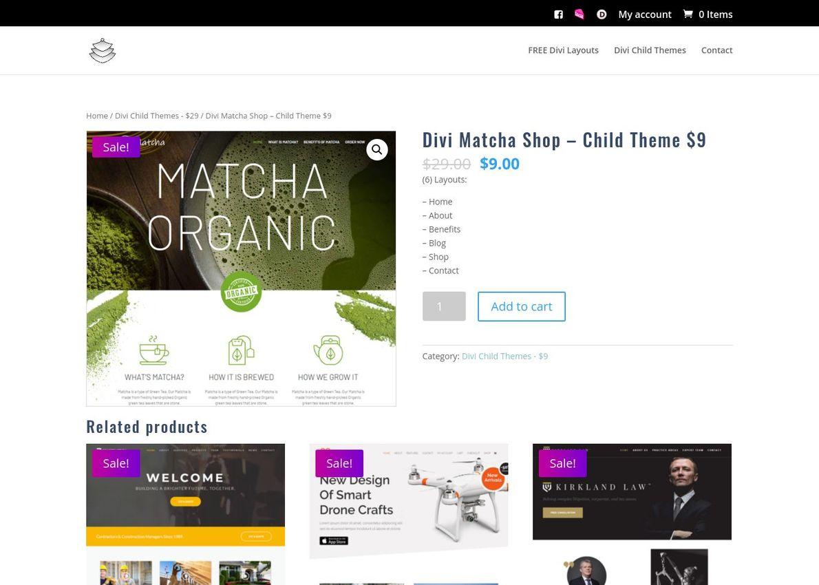 Divi Matcha Shop – Child Theme Divi Theme Example