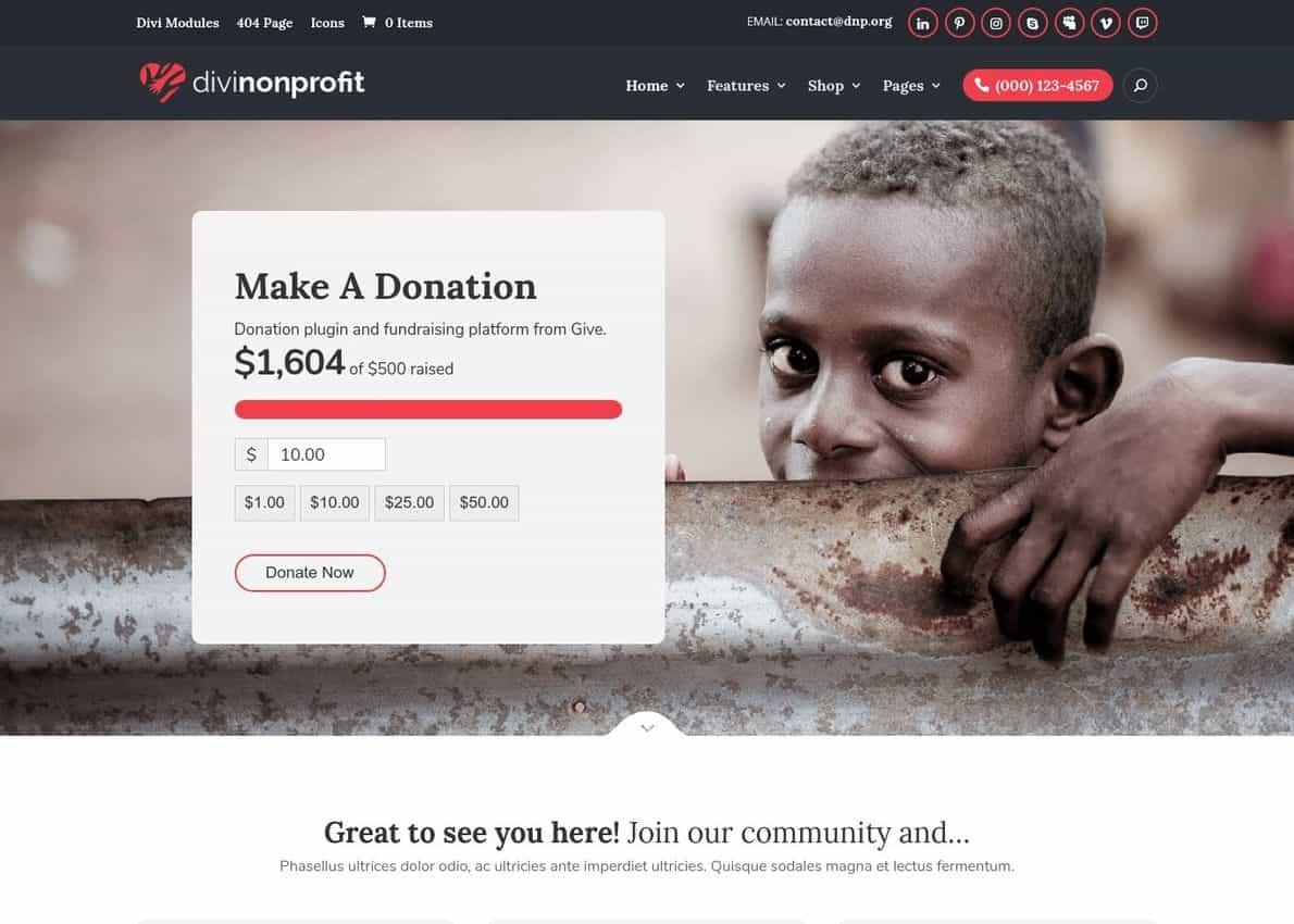 Divi Nonprofit Divi Theme Example