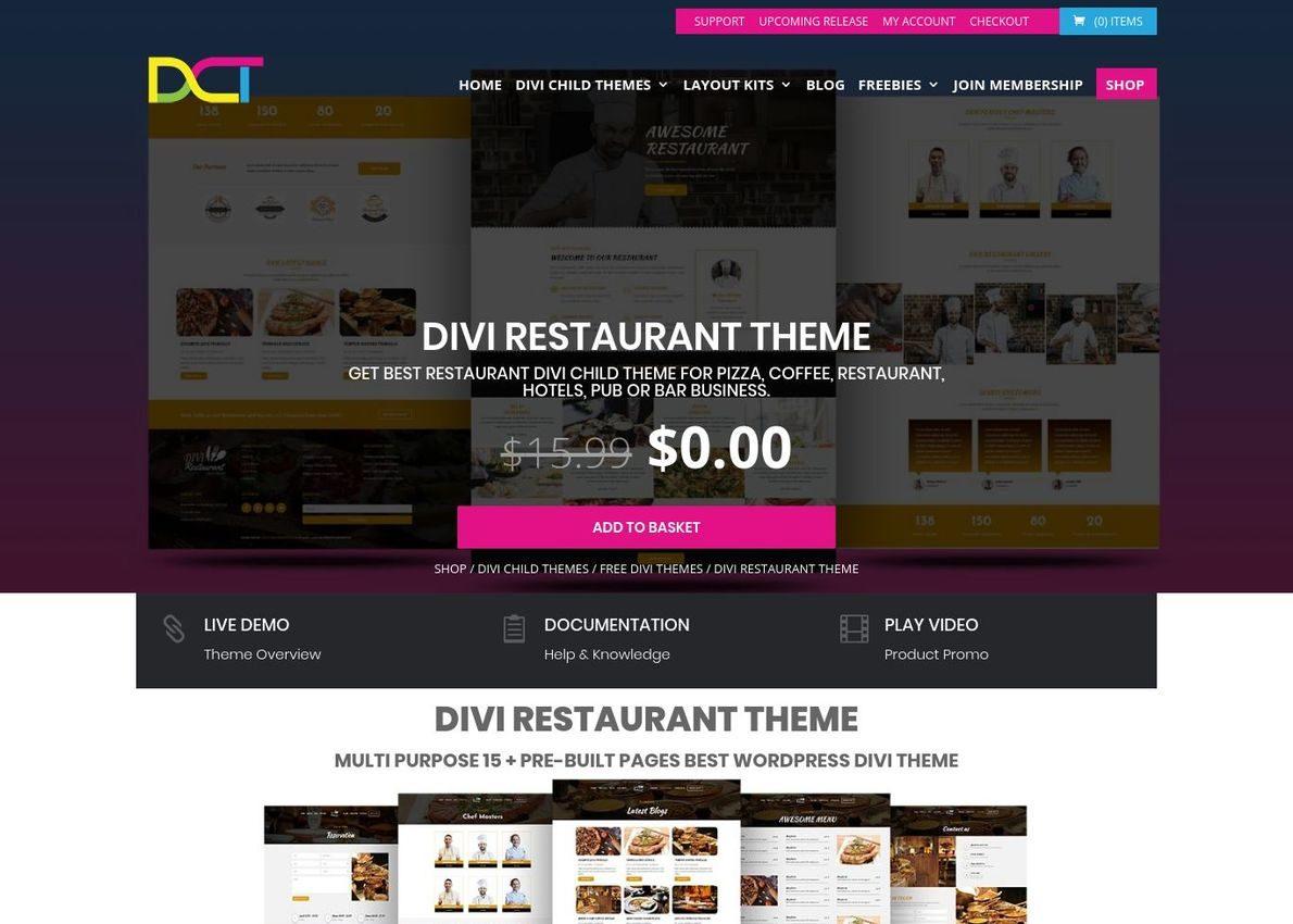 Divi Restaurant Theme Divi Theme Example
