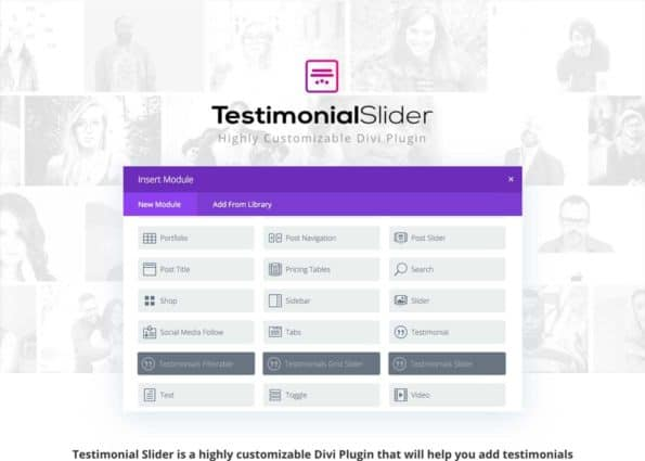 Divi Testimonial Slider on Divi Gallery