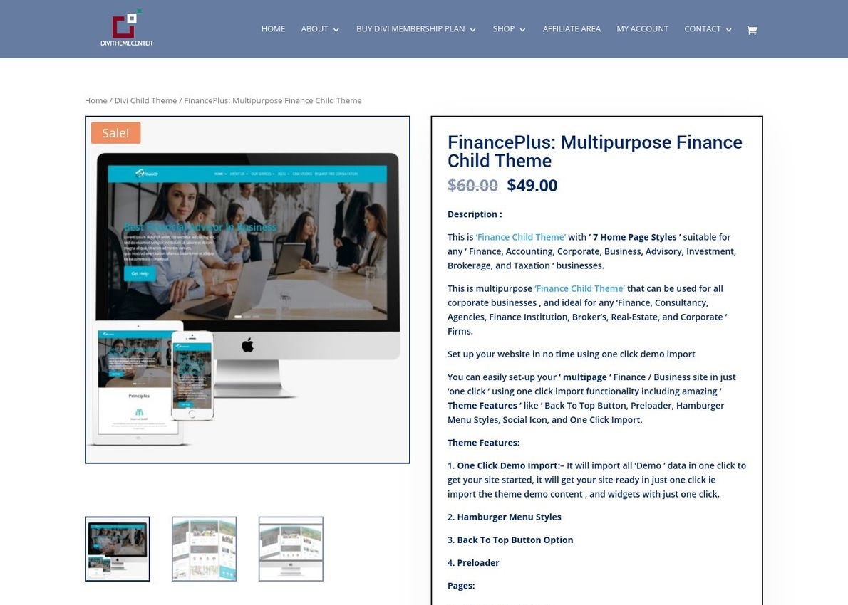 FinancePlus Divi Child Theme Divi Theme Example