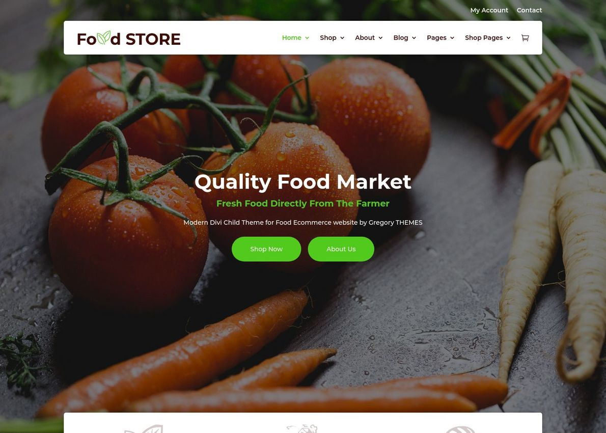 Food Store WooCommerce Theme Divi Theme Example