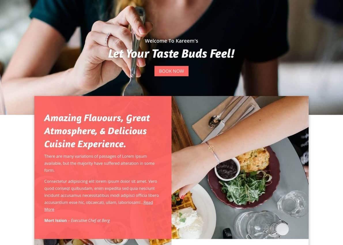 Foodies – Modern Restaurants Layout Bundle Divi Theme Example