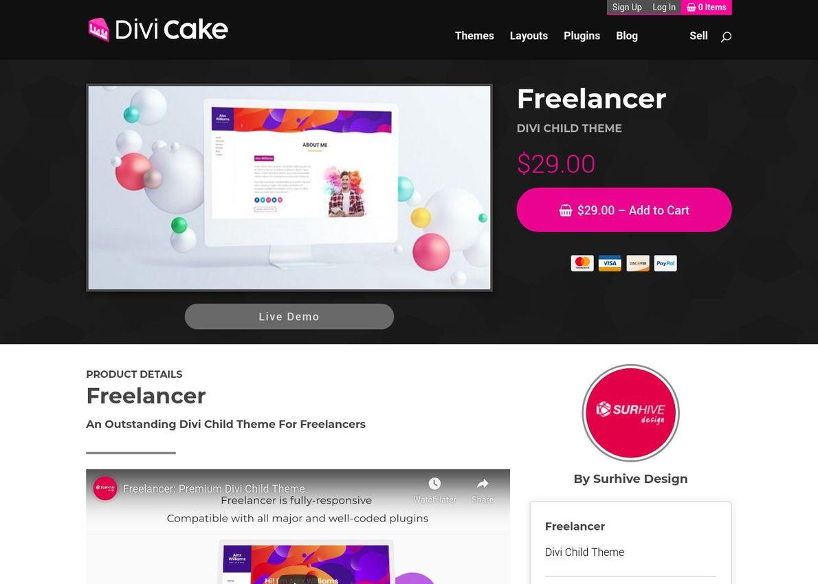 Freelancer Divi Theme Example