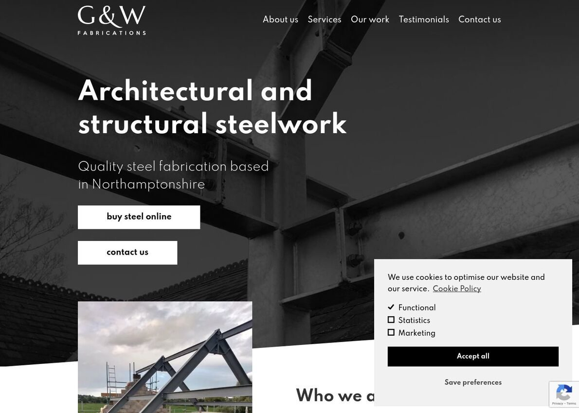 G&W Fabrications Divi Theme Example