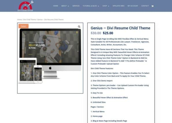 Genius – Divi Resume Child Theme on Divi Gallery