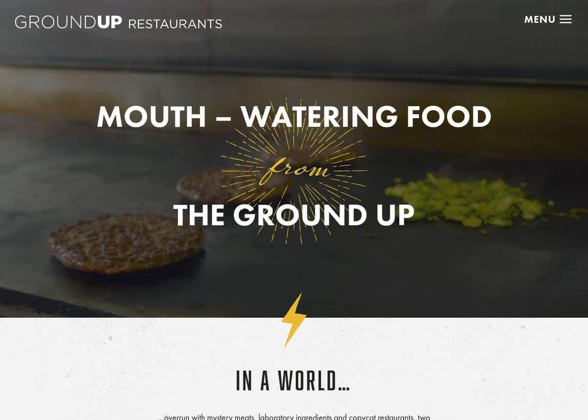 Ground Up Restaurants Divi Theme Example