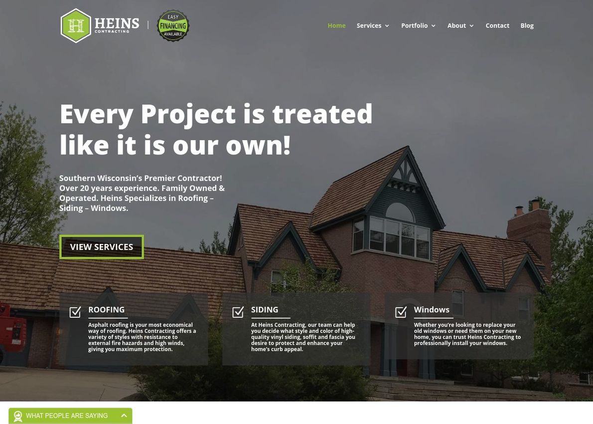 Heins Contracting Divi Theme Example