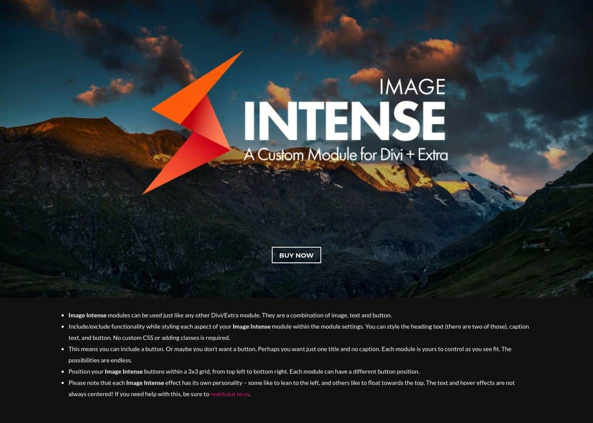 Image Intense Plugin Divi Theme Example