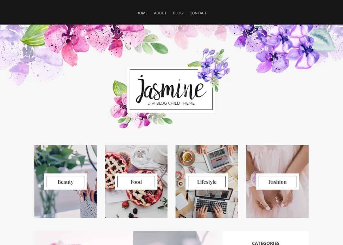 Jasmine Blog Theme Divi Theme Example