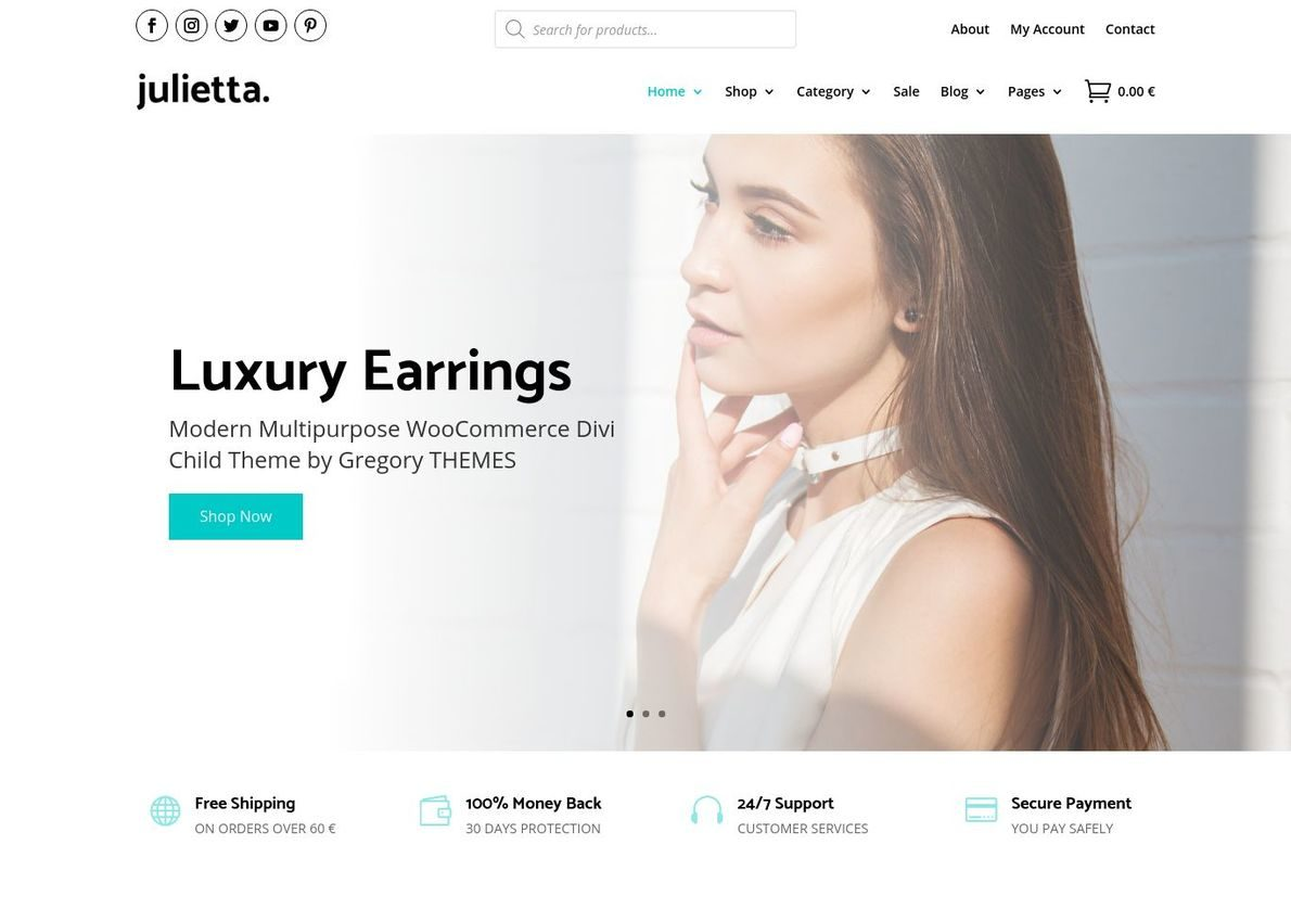Julietta Jewellery WooCommerce Theme Divi Theme Example