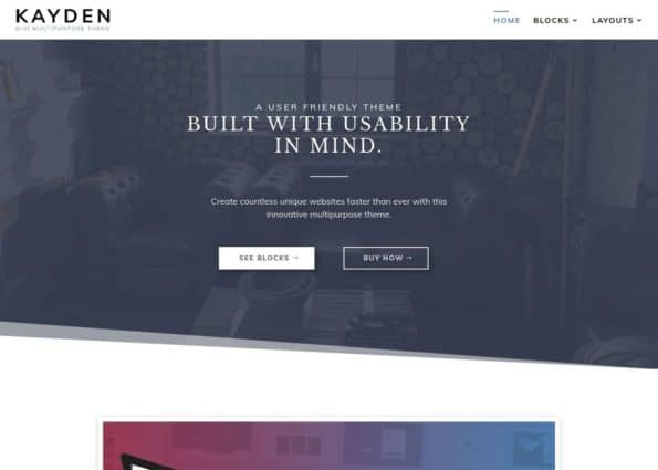 Kayden Theme on Divi Gallery