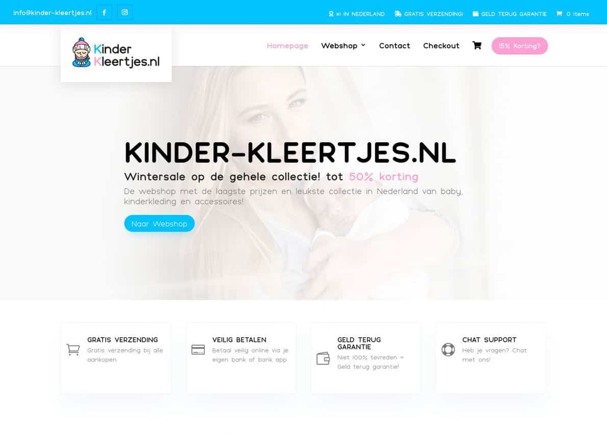 Kinder-Kleertjes.nl Divi Theme Example