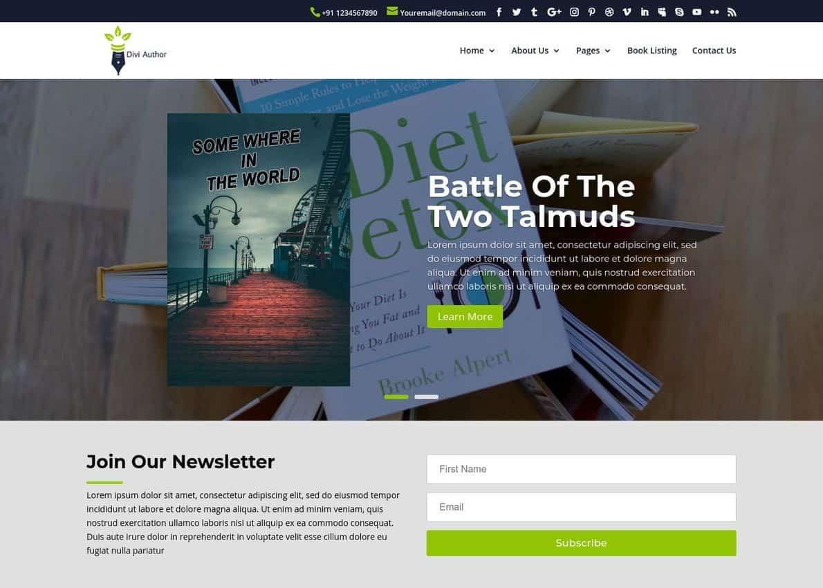 Literary : Multipurpose Divi Author/Blogger child theme Divi Theme Example