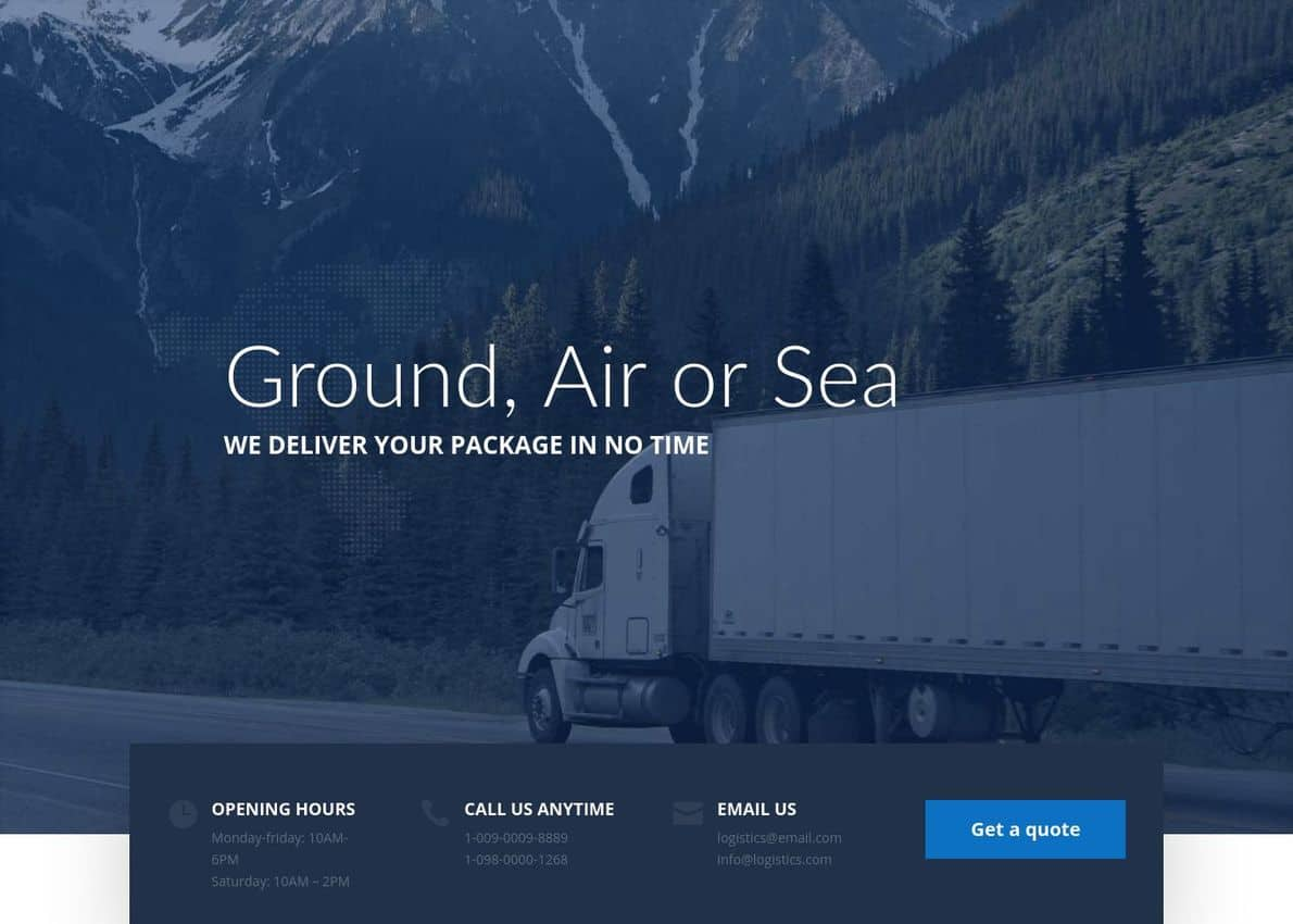 Logistic Divi Theme Example