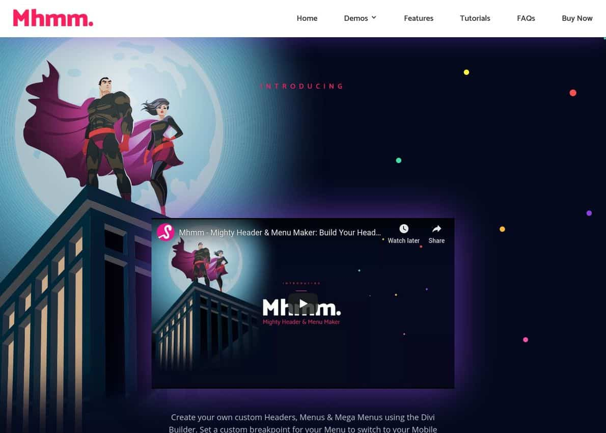Mhmm. – Mighty Header & Menu Maker Divi Theme Example