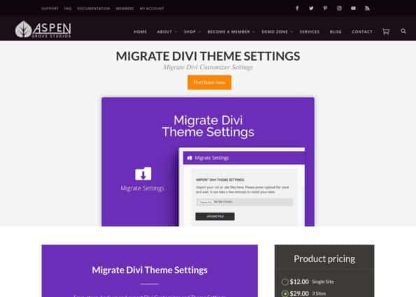Migrate Divi Theme Settings on Divi Gallery