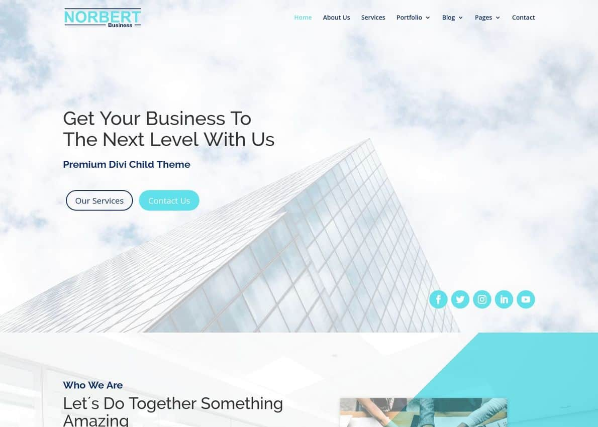 Norbert Business Theme Divi Theme Example