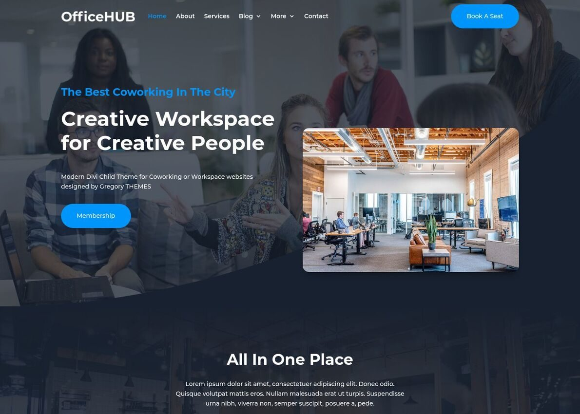 OfficeHUB Coworking Theme Divi Theme Example