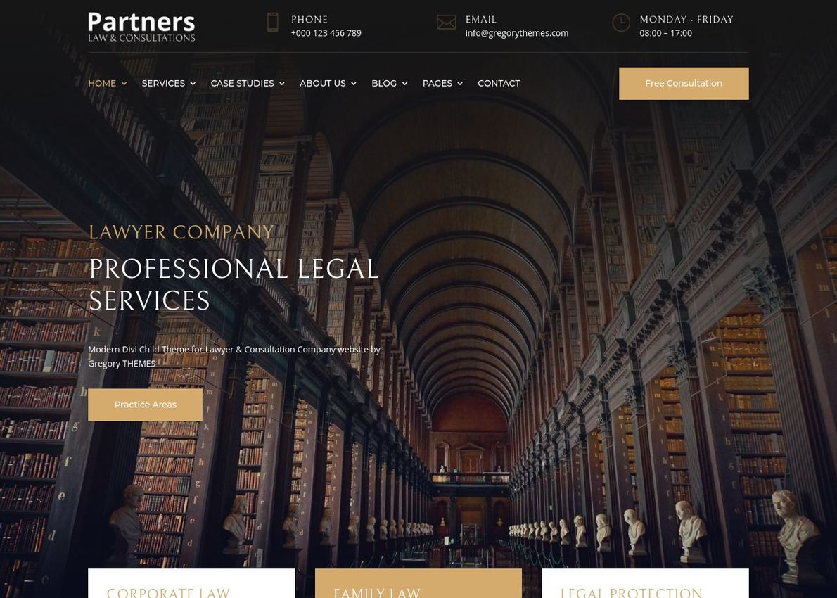 Partners Lawyer Theme Divi Theme Example