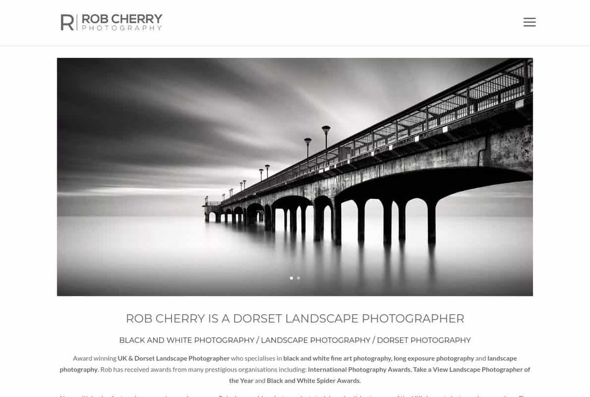 Rob Cherry Photography Divi Theme Example