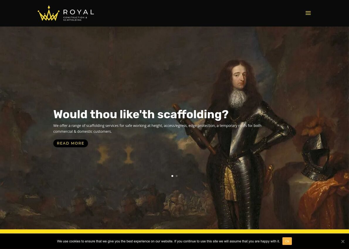 Royal Construction & Scaffolding Divi Theme Example
